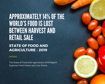 Approximately 14% of the world's food is lost between harvest and retail sale- 'State of Food and Agriculture' (SOFA) report 2019