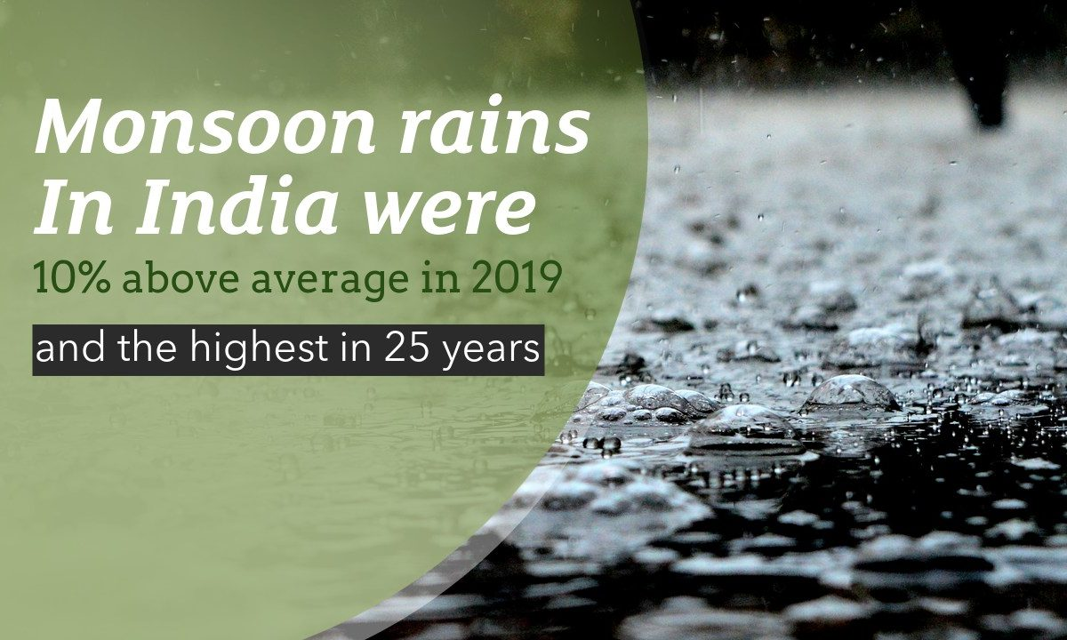 Monsoons in India were 10% above average in 2019 and recorded as highest in the past 25 years
