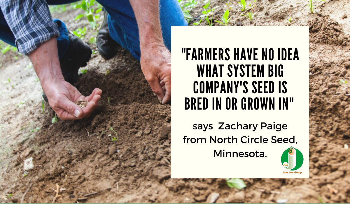 """Farmers have no idea what system big company's seed is bred in or grown in"" says Zachary Paige from North Circle Seed, Minnesota."