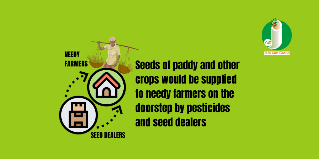 Seeds of paddy and other crops would be supplied to needy farmers on the doorstep by pesticides and seed dealers
